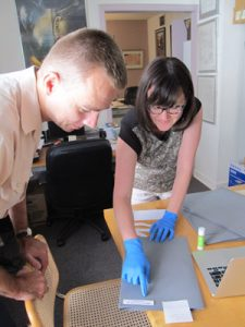 State Archives visiting scholar Robert Gorski, PMC Assistant Director Krysta Close, Wars Collection, summer 2017